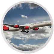 Virgin Airbus A340 G-vgas Round Beach Towel