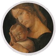 Virgin And Child 1470 Round Beach Towel