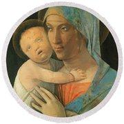 Virgin And Child 1495 Round Beach Towel