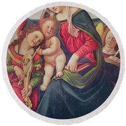 Virgin And Child And Angel Musicians  Round Beach Towel