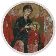 Virgin And Child Enthroned With Saints Leonard And Peter And Scenes From The Life Of Saint Peter Round Beach Towel