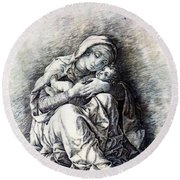 Virgin And Child Madonna Of Humility 1490 Round Beach Towel