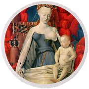 Virgin And Child Surrounded By Angels Round Beach Towel