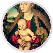 Virgin And Child Under An Apple Tree Round Beach Towel