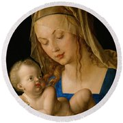 Virgin And Child With A Pear Round Beach Towel