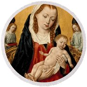 Virgin And Child With Two Angels Round Beach Towel