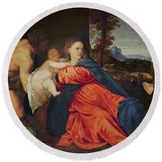 Virgin And Infant With Saint John The Baptist And Donor Round Beach Towel