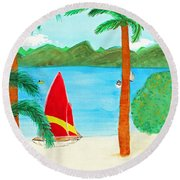 Virgin Island Memories Round Beach Towel