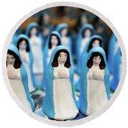 Virgin Mary Figurines Round Beach Towel