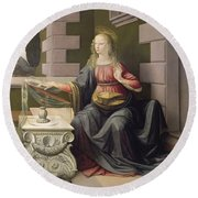 Virgin Mary, From The Annunciation Round Beach Towel