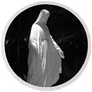 Virgin Mary In Black And White Round Beach Towel