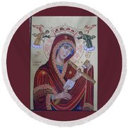 Virgin Mary Of Death Round Beach Towel