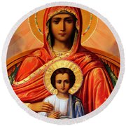 Virgin Mary Old Painting Round Beach Towel