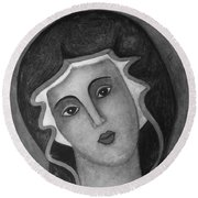 Virgin Mary Round Beach Towel