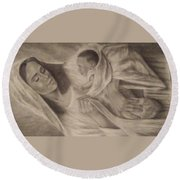 Virgin Maryan Jesus Round Beach Towel
