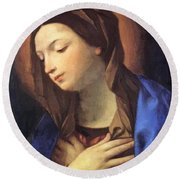 Virgin Of The Annunciation Round Beach Towel