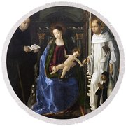 Virgin Of The Knight Of Montesa  Round Beach Towel