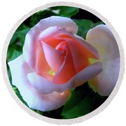 Virgin Pink Rose With Thorns Round Beach Towel