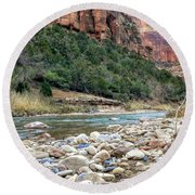 Virgin River In Zion Canyon Round Beach Towel
