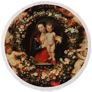 Virgin With A Garland Of Flowers Round Beach Towel