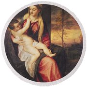 Virgin With Child At Sunset Round Beach Towel by Titian