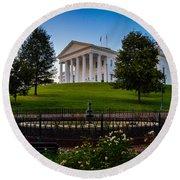 Virginia Capitol Building Round Beach Towel