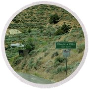 Virginia City Named After Henry Comstock Round Beach Towel