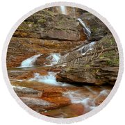 Virginia Fall Glacier Cascades Round Beach Towel