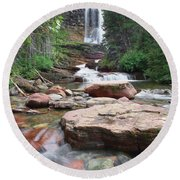 Virginia Falls - Glacier N.p. Round Beach Towel