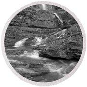 Virginia Falls Glacier Cascades - Black And White Round Beach Towel