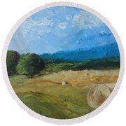 Virginia Hay Bales II Round Beach Towel