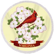 Virginia State Bird Cardinal And Flowering Dogwood Round Beach Towel by Crista Forest