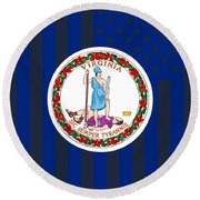 Virginia State Flag Graphic Usa Styling Round Beach Towel