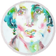 Virginia Woolf Watercolor Portrait Round Beach Towel
