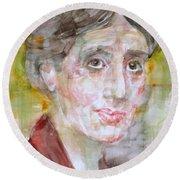 Virginia Woolf - Watercolor Portrait.7 Round Beach Towel