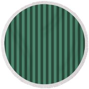 Viridian Green Striped Pattern Design Round Beach Towel