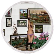 Virtual Exhibition - Girl With Boots Round Beach Towel