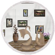 virtual exhibition_Statue of swans 22 Round Beach Towel