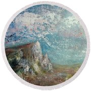 Virtual Mountain Round Beach Towel
