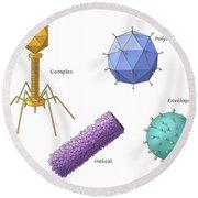 Virus Shapes, Illustration Round Beach Towel