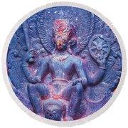 Vishnu Astride Garuda Round Beach Towel