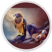 Vision Of The Hawk 2 Round Beach Towel