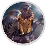 Vision Of The Hawk Round Beach Towel