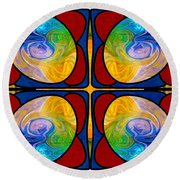 Visions Of Bliss And Abstract Artwork By Omaste Witkowski Round Beach Towel
