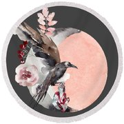Visions Of Crystal Eyed Ravens Round Beach Towel