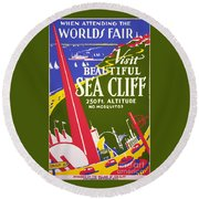Visit Beautiful Sea Cliff Round Beach Towel