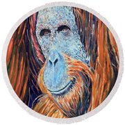 Visit To The Zoo Round Beach Towel