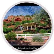 Visitor Center Best Friends Animal Sanctuary Angel Canyon Knob Utah 02 Text Black Round Beach Towel
