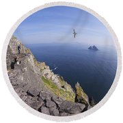Visitors Admire Celtic Monastery, Skellig Michael, Looking To Little Skellig, County Kerry, Ireland  Round Beach Towel