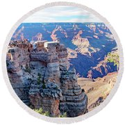 Visitors Dwarfed By Grand Canyon Vista Round Beach Towel